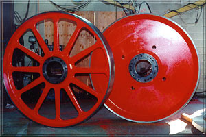 7' diameter cast ductile iron bandwheels, top and bottom